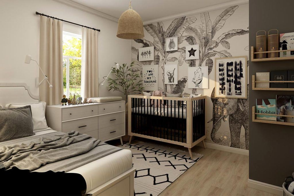 bedroom with subdued beige white and dark grey design accents throughout