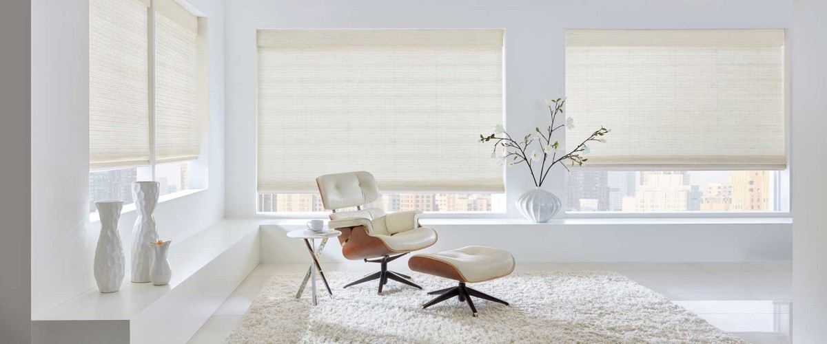 hunter douglas shades in bright office space