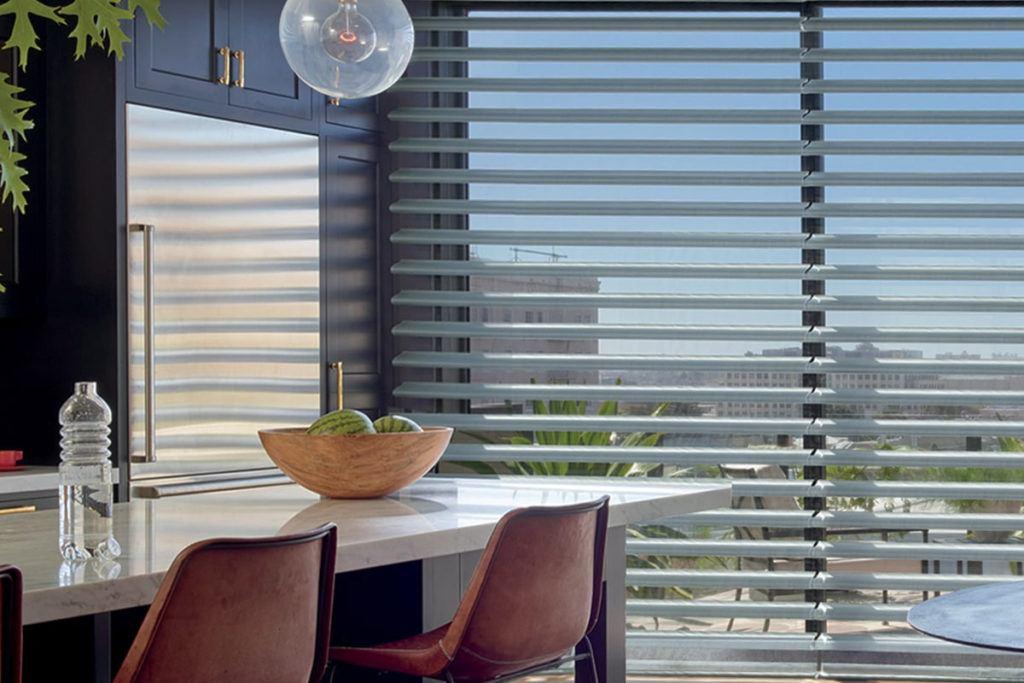 silhouette Hunter Douglas shades in modern kitchen